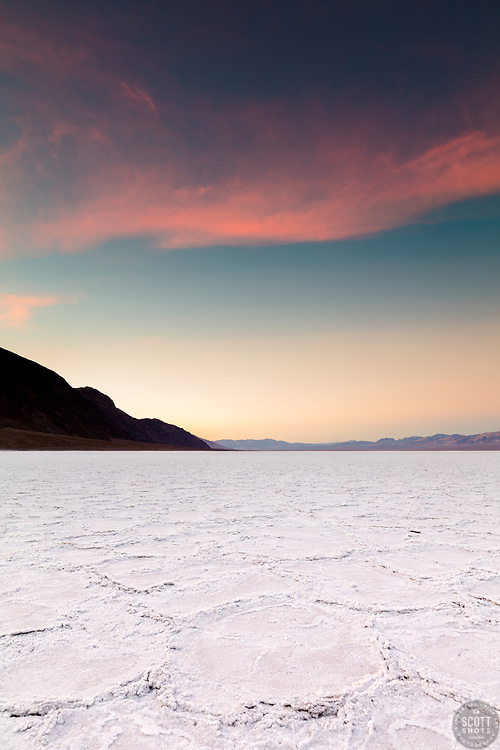 """Sunrise at Badwater Basin 1"" - Sunrise photograph of salt flat formations at Badwater Basin in Death Valley, California."