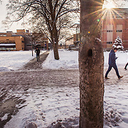 Students navigate the snow campus during finals week. (Photo by Gonzaga University)