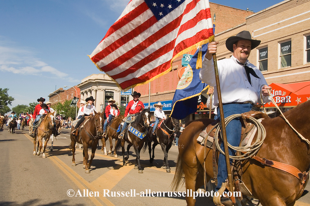 Sheriff Tony Harbough leads the Miles City Bucking Horse Sale Parade, Montana