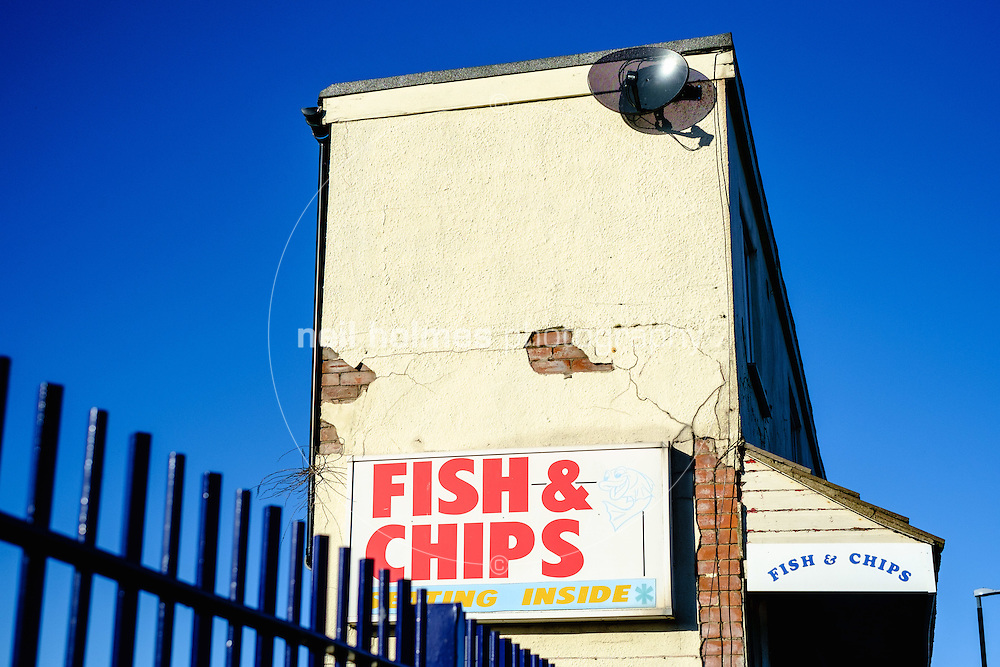 Seafront, Cleethorpes, North East Lincolnshire, United Kingdom, 29 January, 2017. Pictured: Fish & Chips