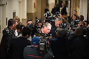 Superintendent of Police, Gary McCarthy, is questioned by reporters before attending the Chicago Police Department budget meeting at City Hall on October 6, 2015.