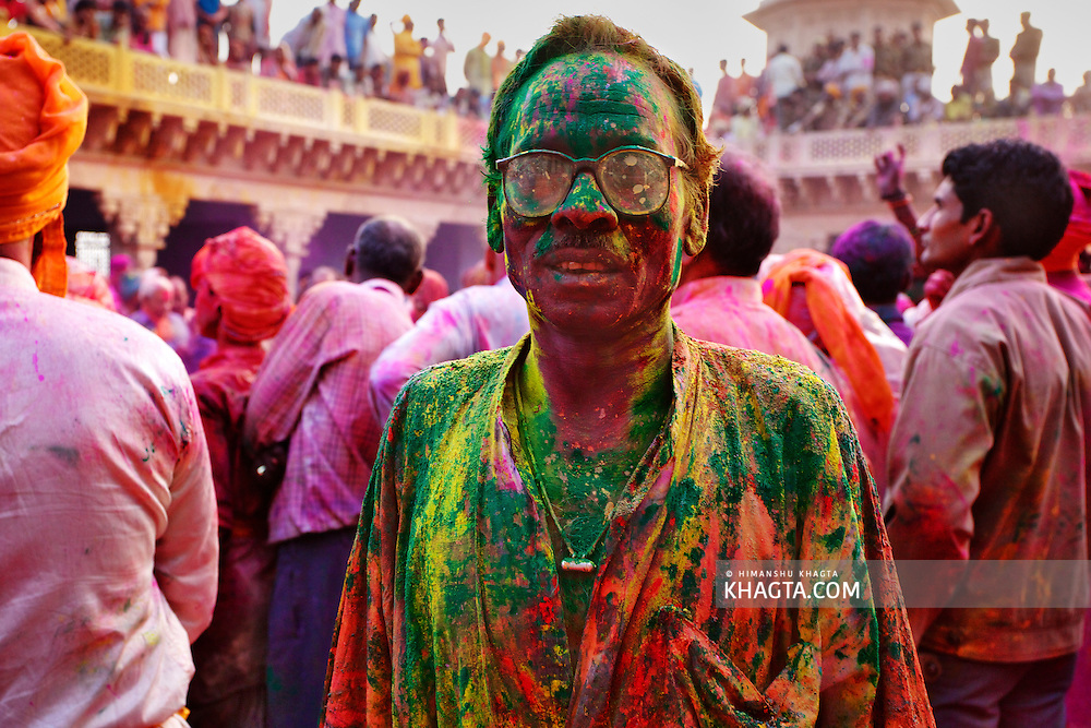A local villager from Nand Gaon village of Braj Region of Mathura, drenched in colors in the festival of colors, Holi.