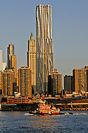 Tugboat, Beekman Tower, architect Frank Gehry, The Woolworth Building designed by Cass Gilbert, Manhattan, New York City, New York, USA