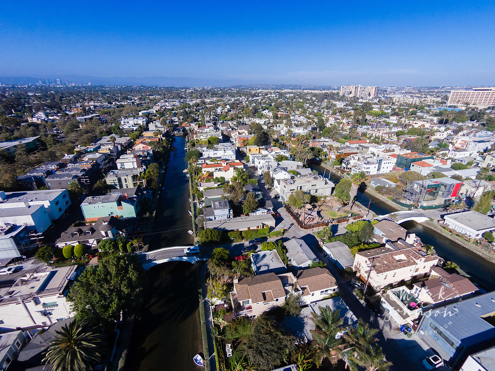 Aerial of the Venice Canals, Venice Beach, Los Angeles, California, USA