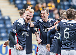 Falkirk's Mark Beck cele scoring their goal.<br /> Half time : Falkirk 1 v 1 Alloa Athletic, Scottish Championship game played today at The Falkirk Stadium.<br /> &copy; Michael Schofield.