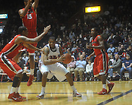 "Ole Miss forward Steadman Short (15)  drives past Georgia's Dustin Ware (3) at the C.M. ""Tad"" Smith Coliseum in Oxford, Miss. on Saturday, January 15, 2011. Georgia won 98-76.  (AP Photo/Oxford Eagle, Bruce Newman)"