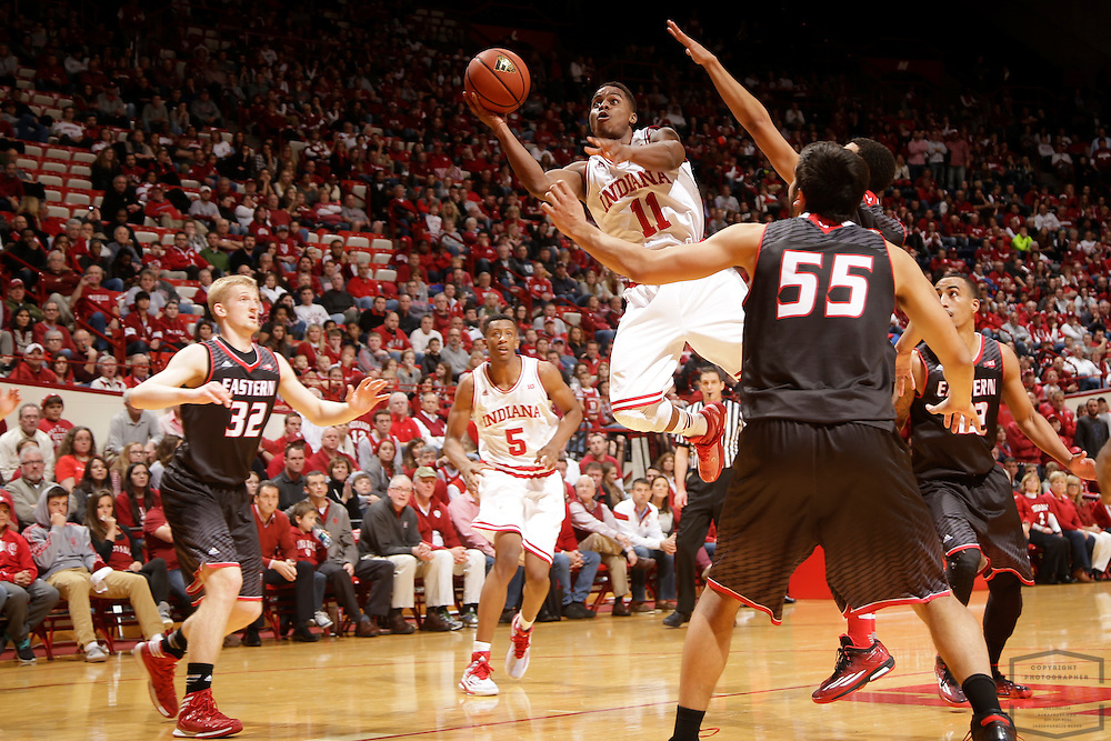 Indiana guard Yogi Ferrell (11) as Eastern Washington played Indiana in an NCAA college basketball game in Bloomington, Ind., Monday, Nov. 24, 2014. (AJ Mast)