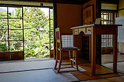 The house where writer Lefkadios Hern lived in Matsue city.<br /> Lafcadio Hearn (1850-1904) was an open-minded writer and world-traveller who settled in Matsue as an English teacher in 1890. There, he met his wife, daughter to a samurai family, and lived in a simple but beautiful traditional Japanese house on Shiomi Nawate Street, north of Matsue Castle. His former residence is now open to the public, and located next to it is the Memorial Museum dedicated to his life and his works.