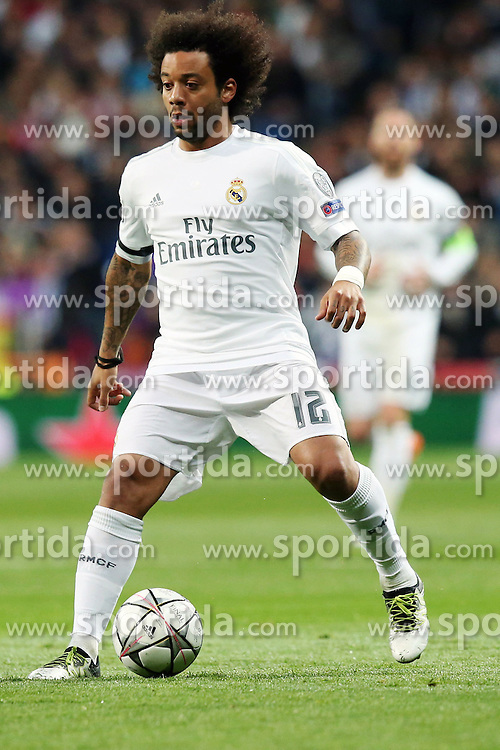 12.04.2016, Estadio Santiago Bernabeu, Madrid, ESP, UEFA CL, Real Madrid vs VfL Wolfsburg, Viertelfinale, Rueckspiel, im Bild Marcelo ( Real Madrid ) // during the UEFA Champions League Quaterfinal, 2nd Leg match between Real Madrid and VfL Wolfsburg at the Estadio Santiago Bernabeu in Madrid, Spain on 2016/04/12. EXPA Pictures &copy; 2016, PhotoCredit: EXPA/ Eibner-Pressefoto/ Langer<br /> <br /> *****ATTENTION - OUT of GER*****