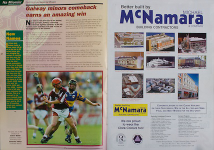 All Ireland Senior Hurling Championship - Final, .14.09.1997, 09.14.1997, 14th September 1997, .14091997AISHCF,.Senior Clare v Tipperary .Tipperary 2-16, Wexford 0-15,.Minor Clare v Galway, .Michael McNamara, Building Contractors,