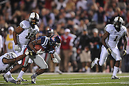 Ole Miss running back Jeff Scott (3) is tackled by Vanderbilt safety Javon Marshall (31) at Vaught-Hemingway Stadium in Oxford, Miss. on Saturday, November 10, 2012. (AP Photo/Oxford Eagle, Bruce Newman)