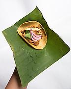 """Dieses Gericht besteht aus Schweinefleisch und wird mit einen speziellem roten Maya-Gewürzmischung,genannt """"Recado Rojo"""", zubereitet. Dieses Gewürzmischung besteht vor allem aus Achiote (einer typisch für Yukatan roten Frucht), Oregano, Nelken, Kümmel, Pfeffer, Knoblauch und Salz. Das Essen gart in Bananenblättern eingewickelt unter der Erde in einer Art Erdofen, eine ganze Nacht lang bzw. mindestens 12 Stunden."""