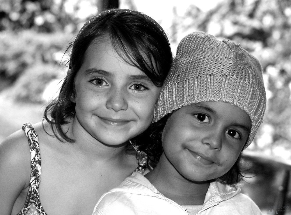 Portrait of two of my nieces - cousins who don't get to see each other very often.