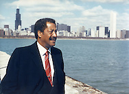Chicago Mayor Eugene Sawyer along the city's lakefront. January 15, 1989. Photo by Antonio Dickey.