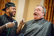 "The Rev. Dr. Matthew C. Harrison, president of The Lutheran Church–Missouri Synod, reacts as the Rev. Terry R. Forke, president of Montana District, offers himself as a ""tribute"" during ""the Great Mustache Shave Off"" at the Liberty National LCMS Campus Ministry Conference on Wednesday, Jan. 4, 2017, at the University of Maryland in College Park, Md. LCMS Communications/Erik M. Lunsford"