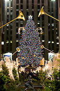 Rockefeller Center Christmas decorations and Christmas Tree in New York city on December 22 2007