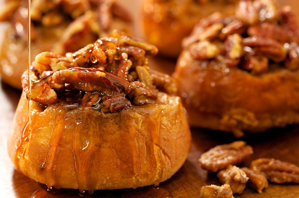 Pecan sticky buns made with Crown Maple Syrup