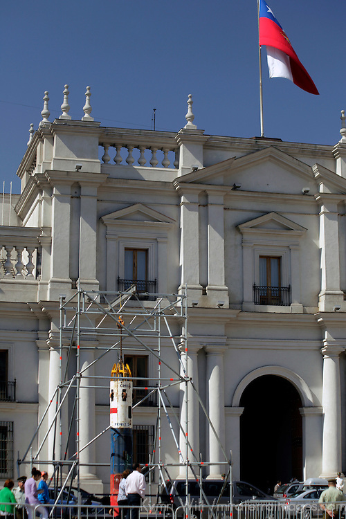 South America, Chile, Santiago. Chilean Miner's Rescue Pod in front of Palacio de La Moneda.