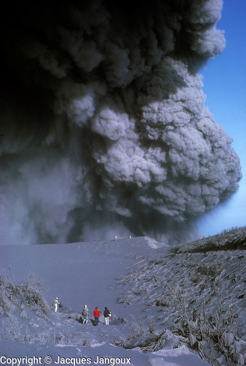 Central America. Costa Rica. Irazú volcano emitting volcanic asshes during 1963 - 1965 eruption.