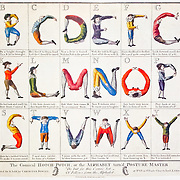 """This funny sheet sold at Colonial Williamsburg, Virginia, shows men twisting their bodies to form the letters of the alphabet: A B C D E F G H I J K L M N O P Q R S T U V W X Y Z.  """"The Comical HOTCH-POTCH, or the ALPHABET turned POSTURE-MASTER - Fellows form the Alphabet,"""" artwork printed for Carington Bowles, at No. 69 St Pauls Church Yard, London."""