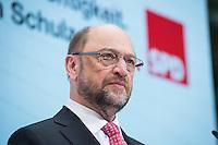 30 JAN 2017, BERLIN/GERMANY:<br /> Martin Schulz, SPD, Kanzlerkandidat und designierter Parteivorsitzender, waehrend einer Pressekonferenz nach der Klausurtagung der SPD Spitze, Willy-Brandt-Haus<br /> IMAGE: 20170130-01-017
