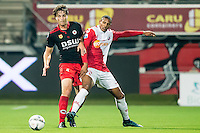 ROTTERDAM - SBV Excelsior - FC Utrecht , Voetbal , Eredivisie, Seizoen 2015/2016 , Stadion Woudestein , 03-10-2015 , Excelsior speler Jurgen Mattheij (l) in duel met FC Utrecht speler Sébastien Haller (r)
