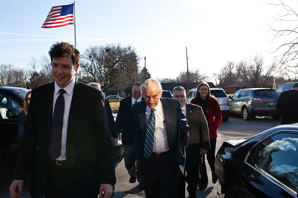 Republican presidential candidate Ron Paul arrives to speak to employees of GuideOne Insurance on Wednesday, December 28, 2011 in West Des Moines, IA.