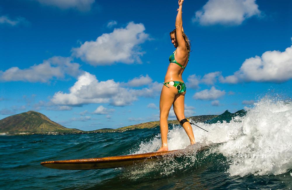 Happy Woman Surfer, Oahu, Hawaii