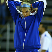 Delaware Forward Elena Delle Donne warms up with her teammates. Elena Delle Donne suffering from a recurrence of Lyme disease didn't play in regular season game against Saint Bonaventure Wednesday, Nov. 28, 2012 at the Bob Carpenter Center in Newark Delaware...Delaware would defeat Saint Bonaventure 68-58
