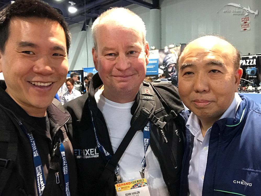 Eric Cheng, Adam Hanlon, Edward Lai (Nauticam) (DEMA 2016, Las Vegas)