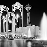 BI27486-03...WASHINTON....1963 photograph of Seattles Pacific Science Center and Space Needle at night.