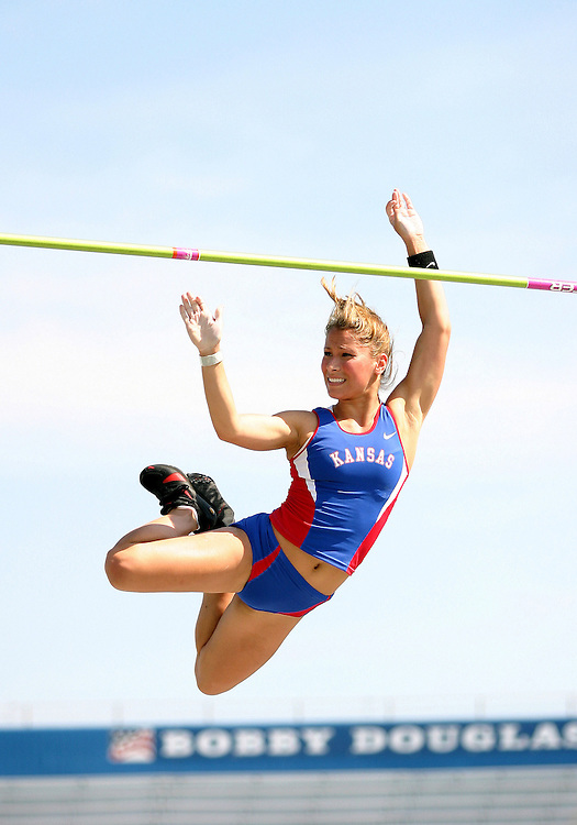 "16 April 2004: Kansas Jayhawk Pole Vaulter Libby Harmon clears 11' 9.75""  during the 2004 Kansas Relays at Memorial Stadium in Lawrence, Kansas."