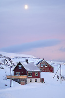 Moon at Dawn Over Havøysund Norway. Image taken with a Nikon D2xs and 85 mm f/1.4D lens (ISO 200, 85 mm, f/1.4, 1/180 sec).