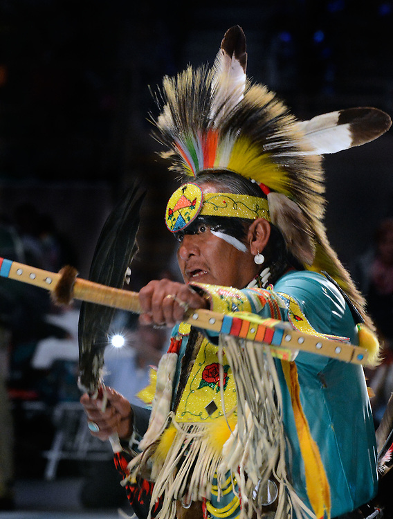 jt042817o/a sec/jim thompson/ Wolf Murphy of Buffalo Water NM dances in the Northern Traditional competition at the 2017 Gathering of Nations Pow-Pow.  Friday April 28, 2017. (Jim Thompson/Albuquerque Journal)