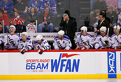 April 9, 2008; Newark, NJ, USA;  Head coach Tom Renney and the New York Rangers during the second period of game 1 of the Eastern Conference Quarterfinal playoffs at the Prudential Center in Newark, NJ.