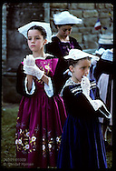 Girls in Breton costumes @ 'pardon' festival; town of Crac'h in the Morbihan, Brittany. France