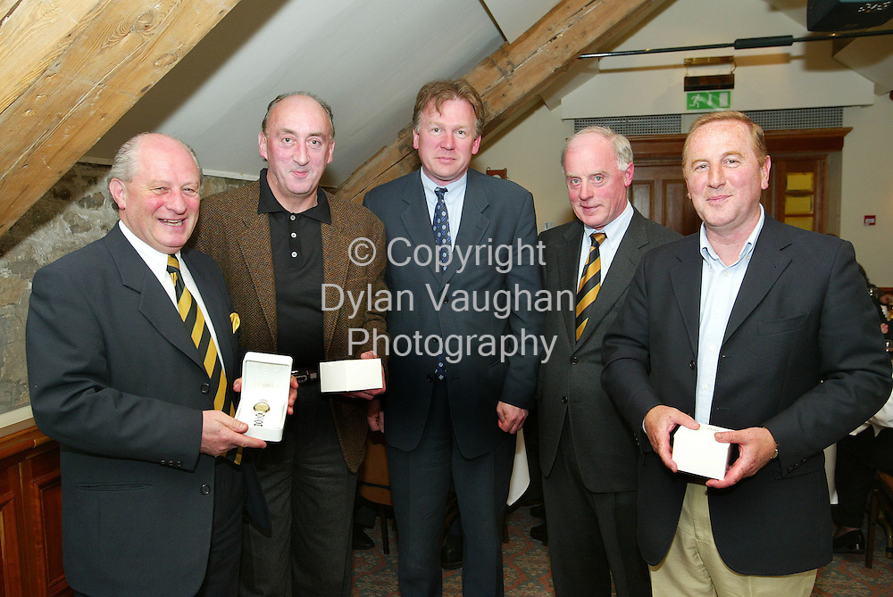 "26/4/2004.Pictured at Mount Juliet at the Kilkenny rotary Golf Classic to raise funds for a new mini bus for the O Neill Centre and other deserving projects was the winning team "" Jones Lang La Salle"" from left Eric Wardrop,  John Mulcahy, James Murray, Pat Hegarty President Kilkenny Rotary Club and Timmy Kavanagh..Picture Dylan Vaughan"