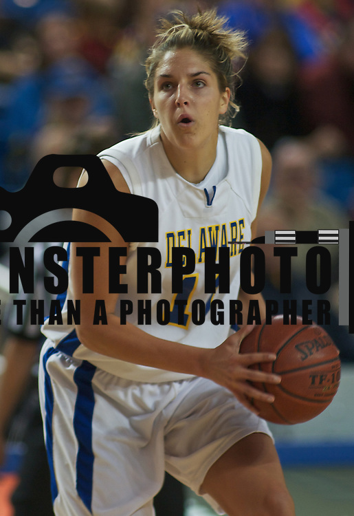 All American Junior Forward and Captain (#11) Elena Delle Donne drives to the boards scoring 2 of her game high 36 points as The Lady Blue Hens Defeat The Lady Retrievers of UMBC 59-44 at the The Bob Carpenter Center In Newark...The Lady Hens is 1-0 and will face Big East power Villanova Next.