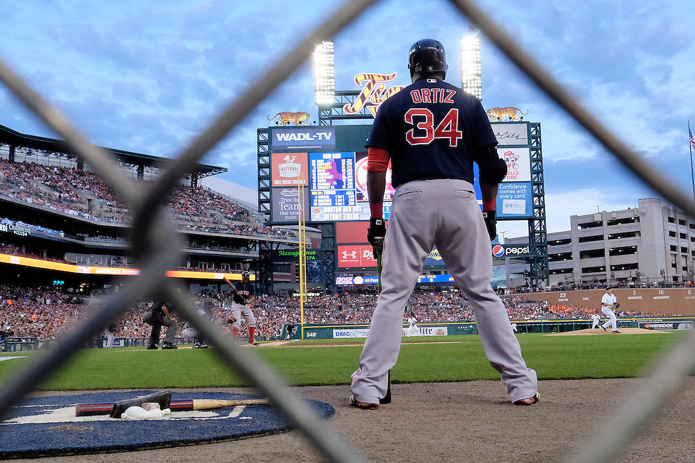 Aug 7, 2015; Detroit, MI, USA; Boston Red Sox designated hitter David Ortiz (34) gets set to bat in the fourth inning against the Detroit Tigers at Comerica Park. Mandatory Credit: Rick Osentoski-USA TODAY Sports