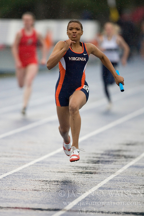 Virginia Cavaliers Tomika Ferguson anchors the women's 4x100 en route to a first place finish.  The University of Virginia Track and Field team hosted the 2007 Lou Onesty Invitational Track Meet at the University of Virginia in Charlottesville, VA on April 14, 2007.