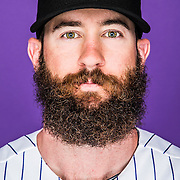 March 1, 2015: Outfielder Charlie Blackmon (19) poses for a portrait during the Colorado Rockies photo day in Scottsdale, AZ.