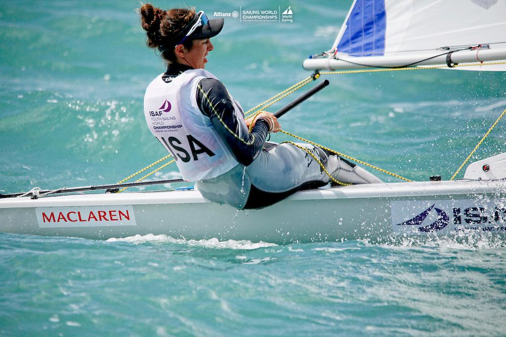 United StatesLaser RadialWomenHelmUSACS239ChristinaSakellaris<br />Day3, 2015 Youth Sailing World Championships,<br />Langkawi, Malaysia
