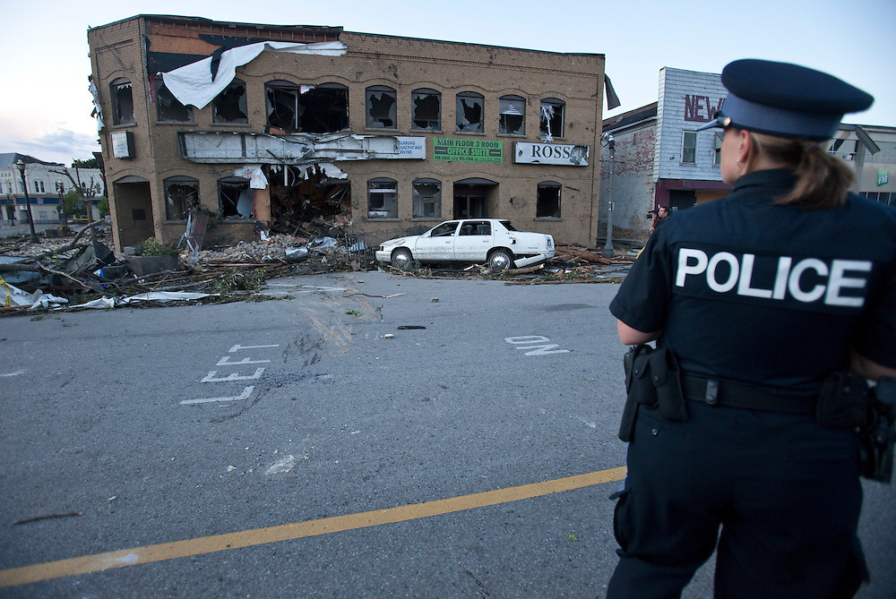 A Tornado caused significant damage to the downtown core of Goderich Ontario, Sunday, August 21, 2011.<br /> THE CANADIAN PRESS/ Geoff Robins