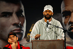 Nov 5, 2008; New York, NY, USA; Roy Jones Jr. speaks at the final press conference for his November 8, 2008 Light Heavyweight Championship fight against Joe Calzaghe. The two fighters will meet at Madison Square Garden in NY, NY.