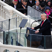 WASHINGTON, USA - January 20: President Donald Trump gives his Inaugural Address during the 58th U.S. Presidential Inauguration where he was sworn in as the 45th President of the United States of America in Washington, USA on January 20, 2017.