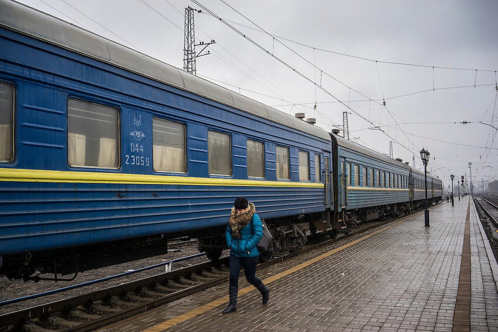 A train which temporarily houses people displaced by fighting between pro-Russia rebels and Ukrainian forces in Eastern Ukraine is parked at the train station on Monday, February 9, 2015 in Slovyansk, Ukraine.