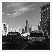 2016 September 22 - View of 4th Ave into downtown Seattle with traffic and buildings. By Richard Walker