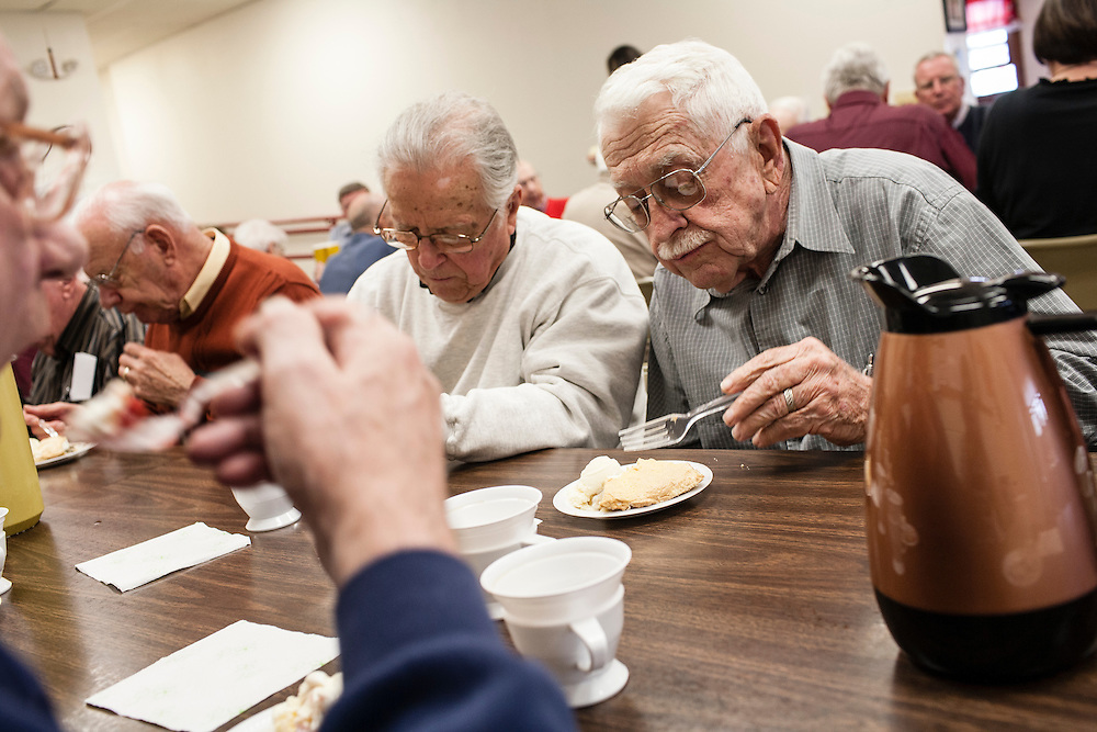 Pie is served for Don Doolittle at the Webster City birthday club on Friday, March 30, 2012 in Webster City, IA.