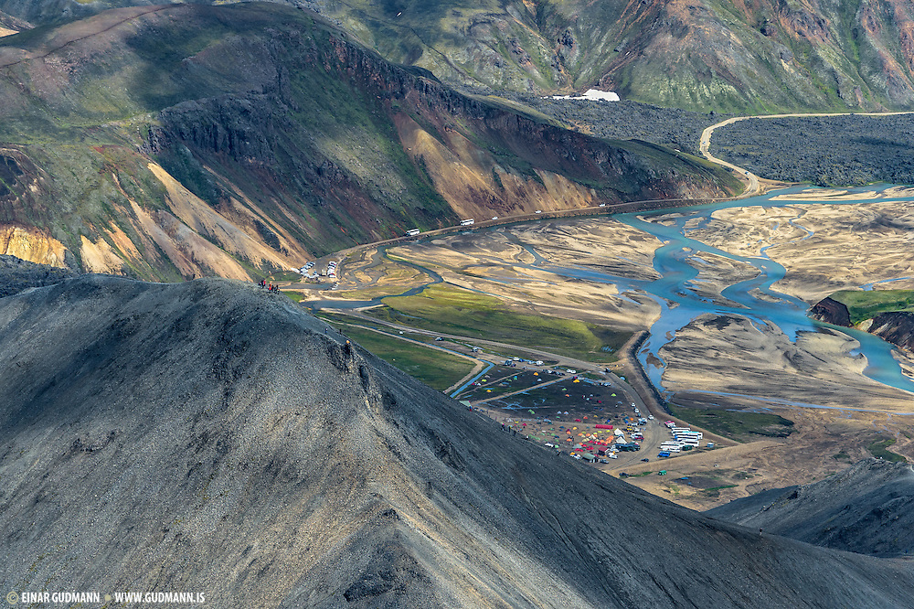 Aerial photo taken over Landmannalaugar in Iceland.