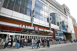 Apr 17, 2009; Montreal, Quebec, CAN; UFC fans line up outside the Bell Centre in Montreal, Quebec, Canada hours before doors open for the weigh-in for UFC 97: Redemption.  UFC 97 will take place on April 18, 2009 at the Bell Centre.